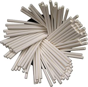 8-inch 100 Ct. White Lollipop Sticks, Food Grade Safe Paper, for Cake Pop, Candy, Sucker, Candy Apple, Party Treat, Lollipop, Marshmallow Pop, Cake Topper, Chocolate and Cookie