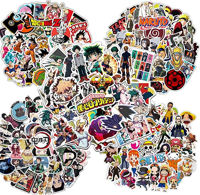 250PCS Anime Stickers Each 50 of Dragon Balls, My Hero Academia,Naruto, ONE Piece and Demon Slayer Anime Decal (250PCs Anime Stickers)