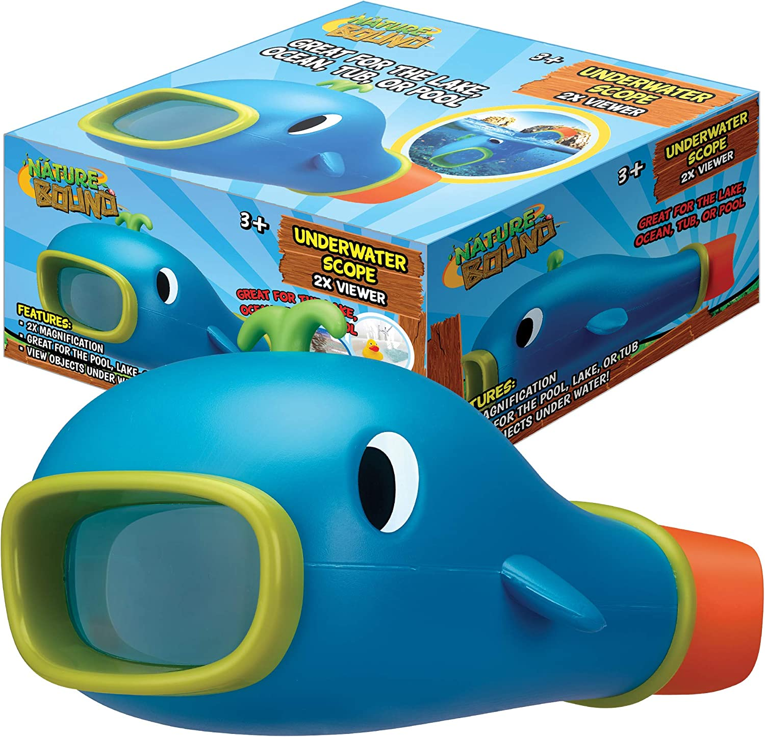 Nature Bound Underwater Scope Aqua Viewer Toy for Kids with 2X Marine Microscope for Boys and Girls Ages 3 +, Blue