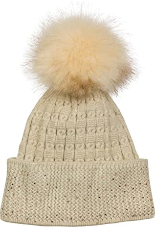 35579edd91a styleBREAKER Soft fine-Knit Bobble hat with Rhinestone and Removable Faux  Fur Pompom