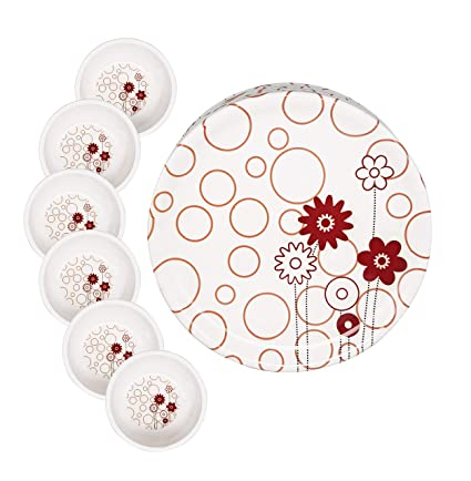 Buy Cloudsell Melamine Dinner Set For Party Camping Daily Use Red Flower Full Plate Bowls Set Of 12 Online At Low Prices In India Amazon In