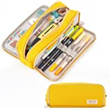 CICIMELON Large Capacity Pencil Case 3 Compartment Pouch Pen Bag for School Teen Girl Boy Men Women (Yellow)