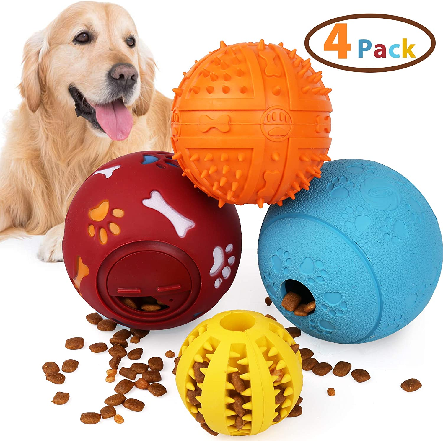 PrimePets 4Pack IQ Treat Ball, Fun Interactive Food Dispensing Dog Toys, Dog Puzzle Chew Toys, Non-Toxic Natural Rubber Dog Chew Toys, Interactive Dog Toys for Tooth Cleaning, Chewing, Playing