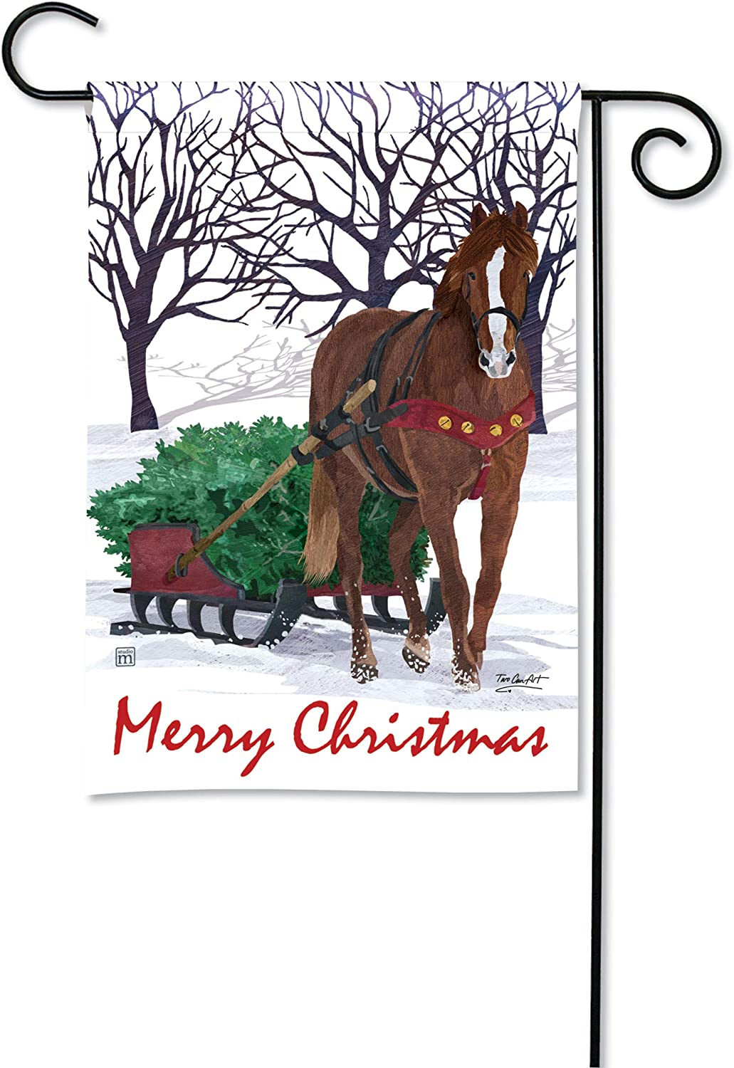 BreezeArt Studio M Horse Drawn Sled Winter Christmas Garden Flag - Premium Quality, 12.5 x 18 Inches