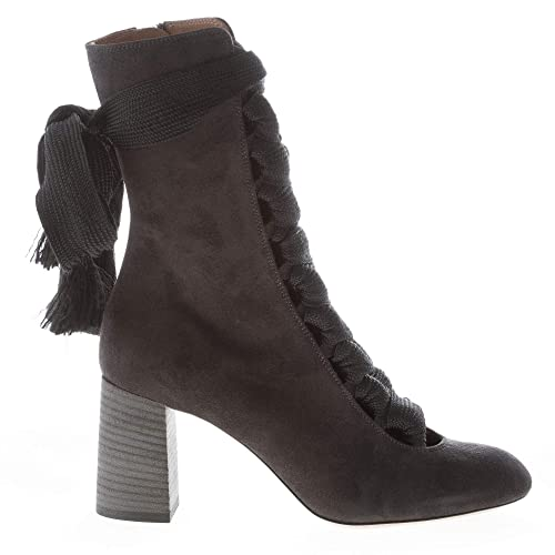 b3c59fe448 Chloe' Women Shoes Harper Black Suede Round Toe Laced Ankle Boot ...