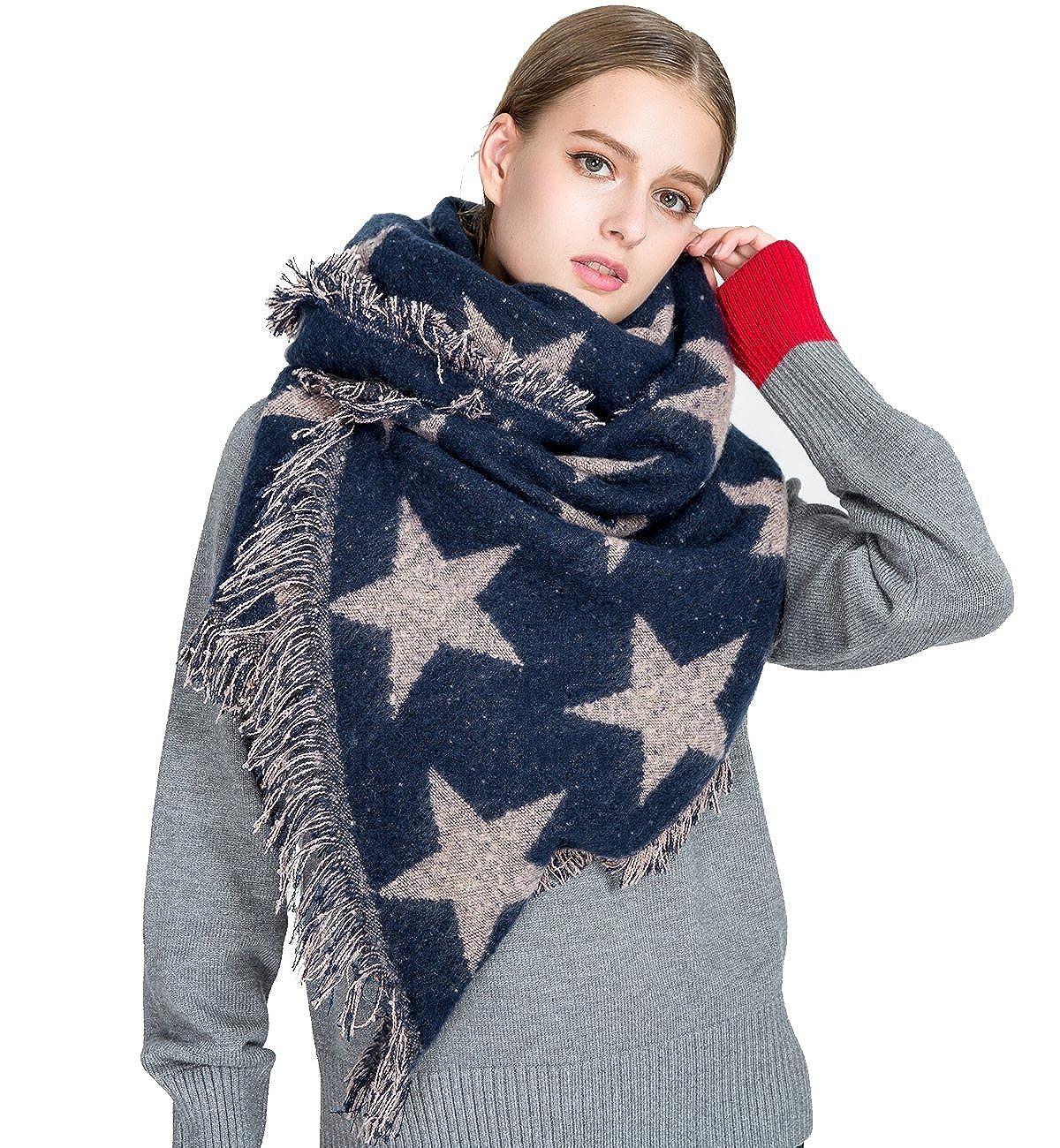 Superora Bufanda Mujer de Invierno Chal Manta Fular Caliente Estrellas Largas Cachemira