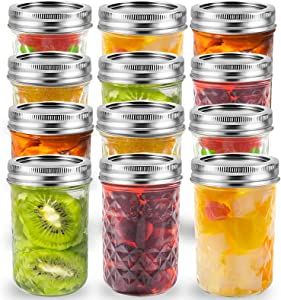 YMKJ 8 oz Regular Mouth Mason Jars (12 Pack) with Labels and Pen, Glass Canning Jars with Silver Metal Airtight Lids and Bands, Ideal for Jam, Preserving, Food Storage, Canning, Drinking, Fruit