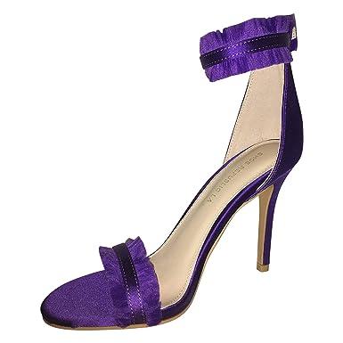 b000edd97021f Amazon.com: Shoe Republic LA Women Purple Heel OpenToe Slim High ...