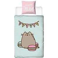 pusheen Juego de cama ☆ Sweet Dreams · Felicitaciones gato/dibujos animados Cat con Reversible Diseño · Chica cama · Color Rosa, Mint · 2 piezas - Almohada 80 x 80 + Funda Nórdica 135 x 200 cm