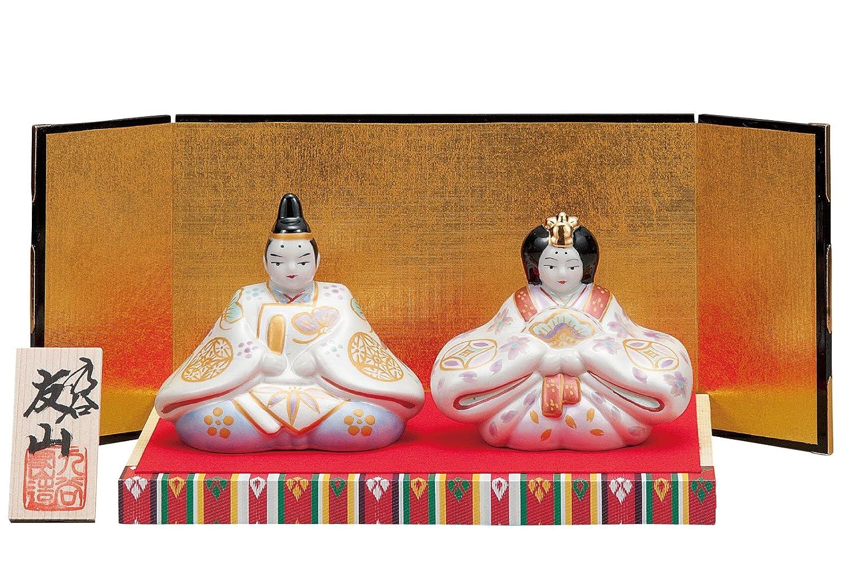 九谷焼 3号雛人形 金銀釉彩(台敷物立札屏風付)   B0185ICW18