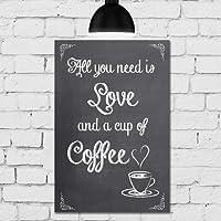 Placa Decorativa MDF Café e Amor