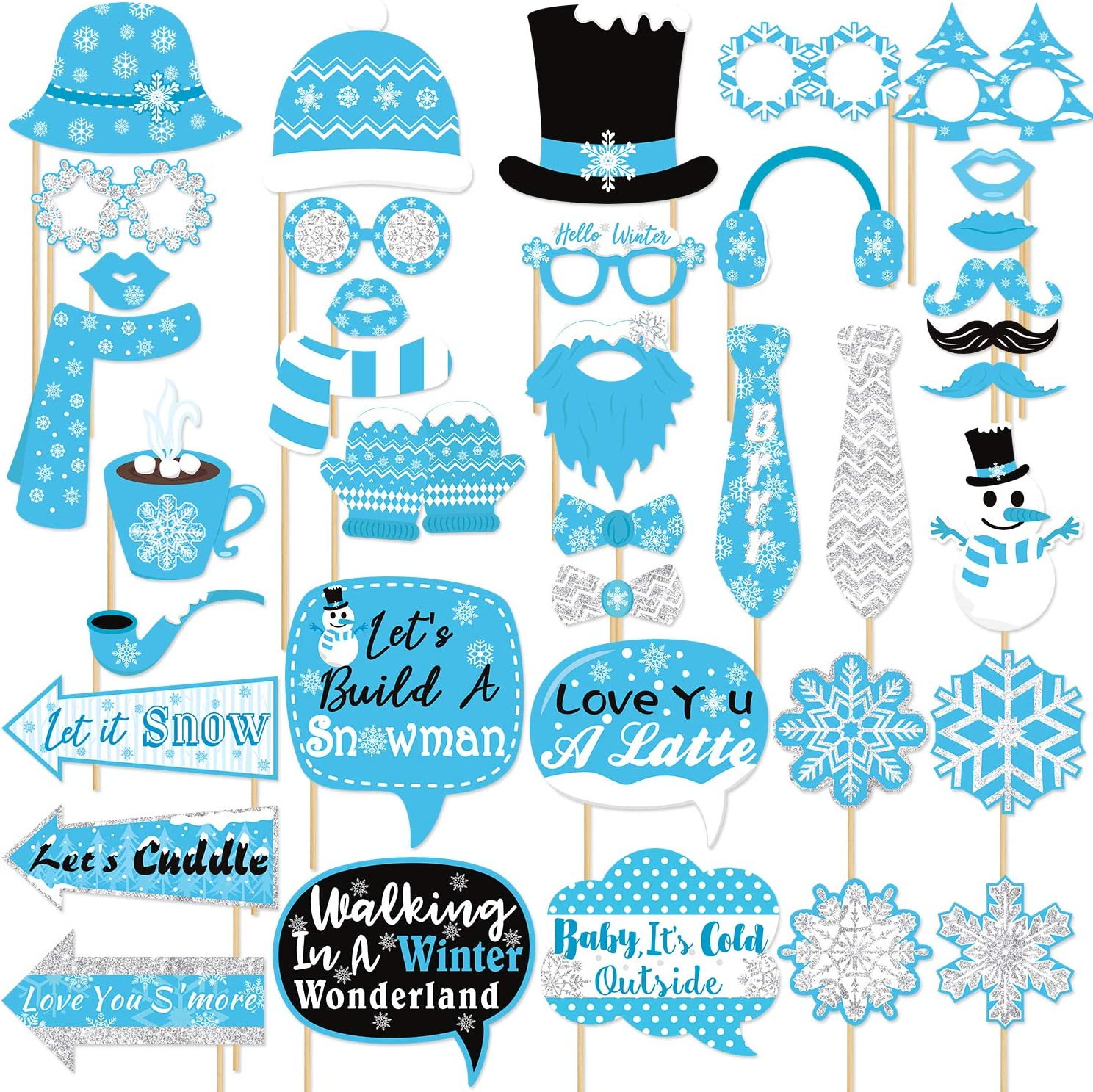 Snowflake Photo Booth Props Frozen Party Decorations Winter Wonderland Party Favor for Holiday Party, Christmas Party Supplies