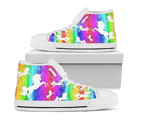 ce10bddfa249 Amazon.com  Girls Unicorn Rainbow Hi Tops