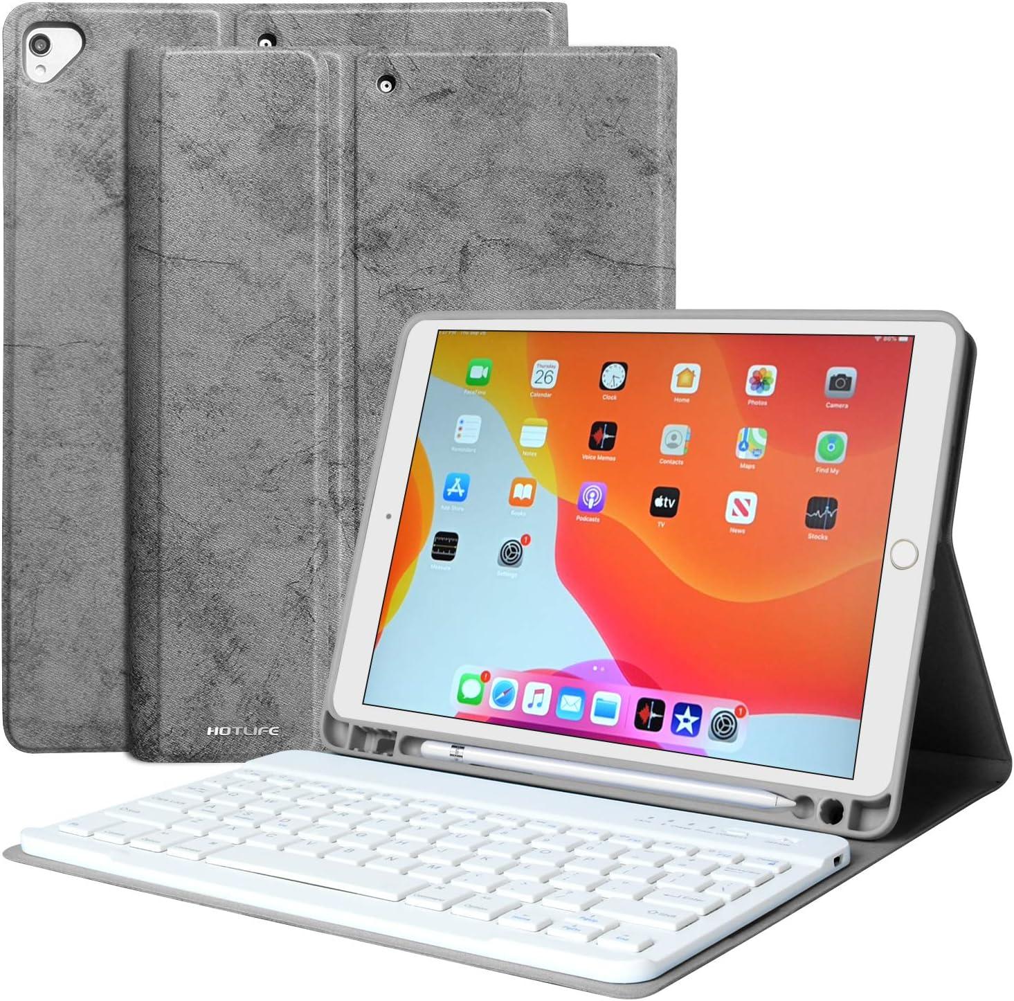 iPad Keyboard Case 10.2 8th 7th Generation 2020/2019 - Magnetic Detachable Bluetooth Keyboard for iPad 8th Gen/ 7th Gen Keyboard Case with Pencil Holder for Generation 8 Gen 7 Air 3 10.5 Pro 10.5,Grey