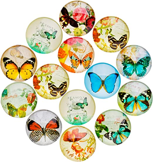 HYSH 14pcs Butterfly Refrigerator Magnets Beautiful Fridge Photo Decorative Glass Popular Funny Office Cabinets Whiteboards Best Housewarming Gift butterfly