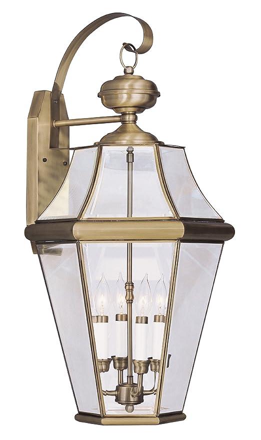 Livex Lighting 2366-01 Georgetown 4-Light Outdoor Wall Lantern, Antique Brass - Wall Porch Lights - Amazon.com