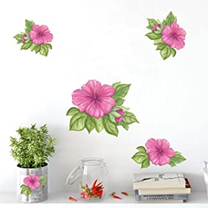 Create-A-Mural Hibiscus Flower Watercolor Wall Decal Stickers ~ Beautiful Room Decor Wall Accent, Removable Peel and Stick Room Decor
