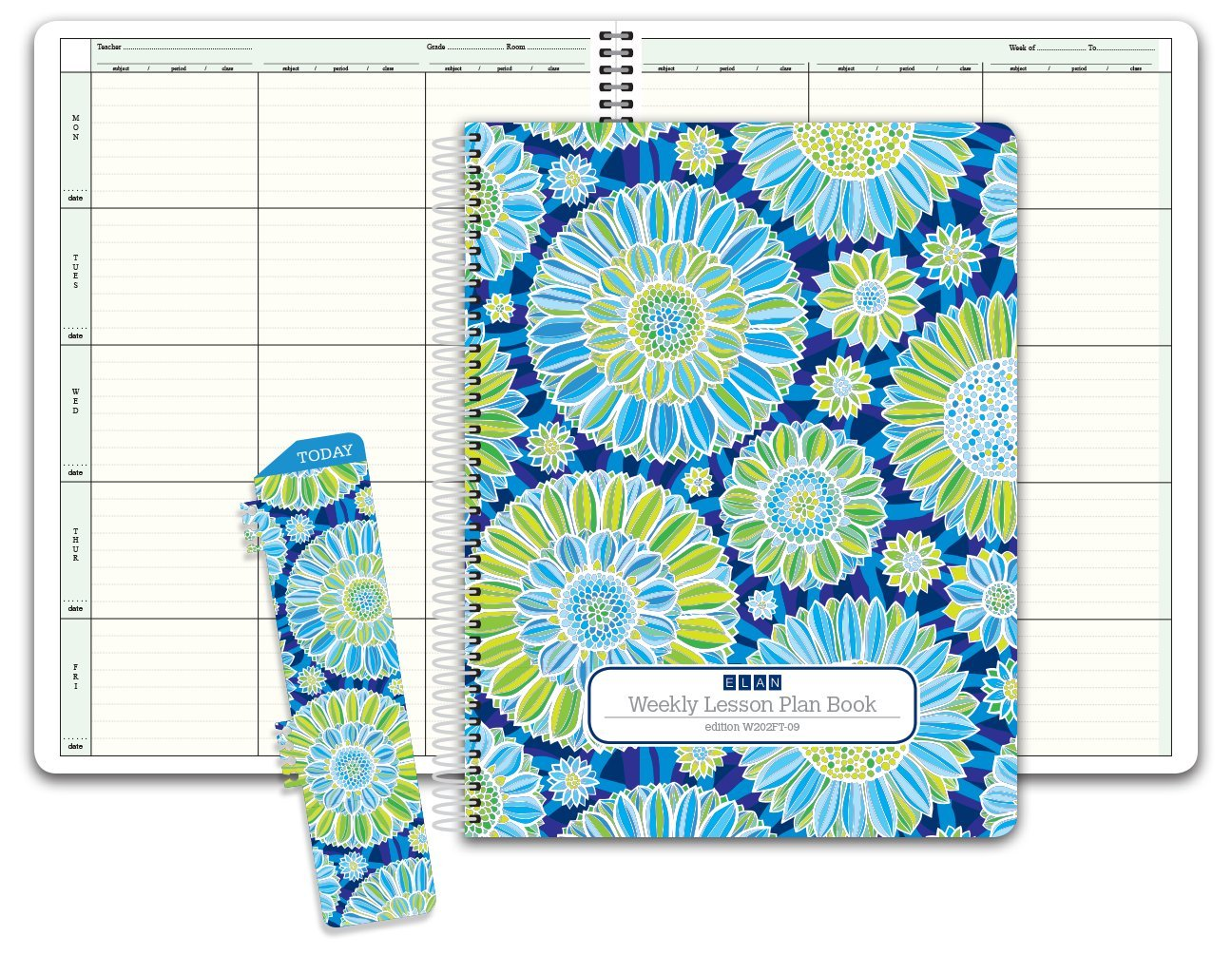 HARDCOVER 6 Period Teacher Lesson Plan; Days Vertically Down The Side (W202) (+) Bonus Clip-in Bookmark (Green Blue Flowers)