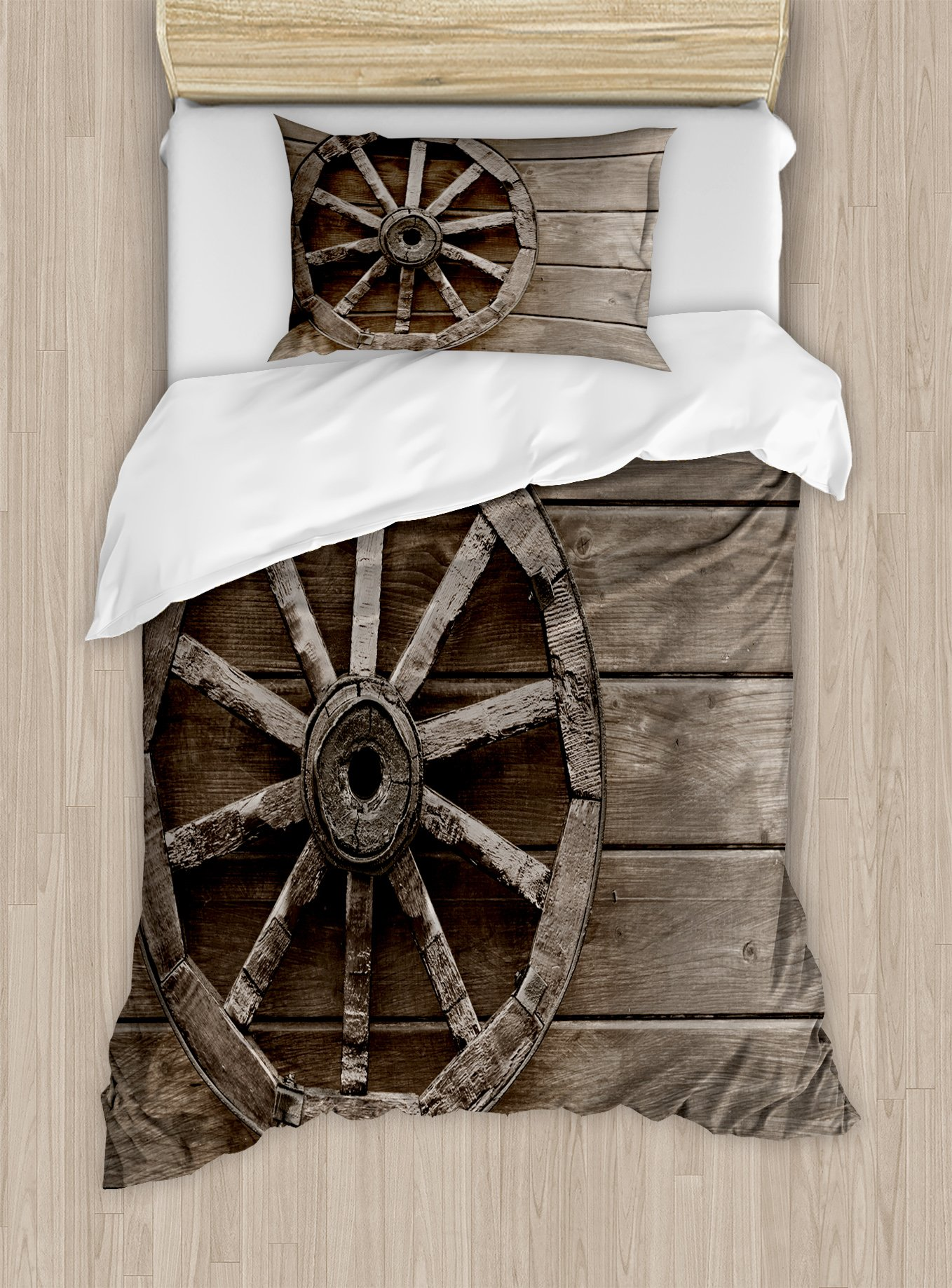 Ambesonne Barn Wood Wagon Wheel Duvet Cover Set Twin Size, Antique Aged Carriage Vehicle Wheel on The Wall of Barn Grunge Western, Decorative 2 Piece Bedding Set with 1 Pillow Sham, Umber