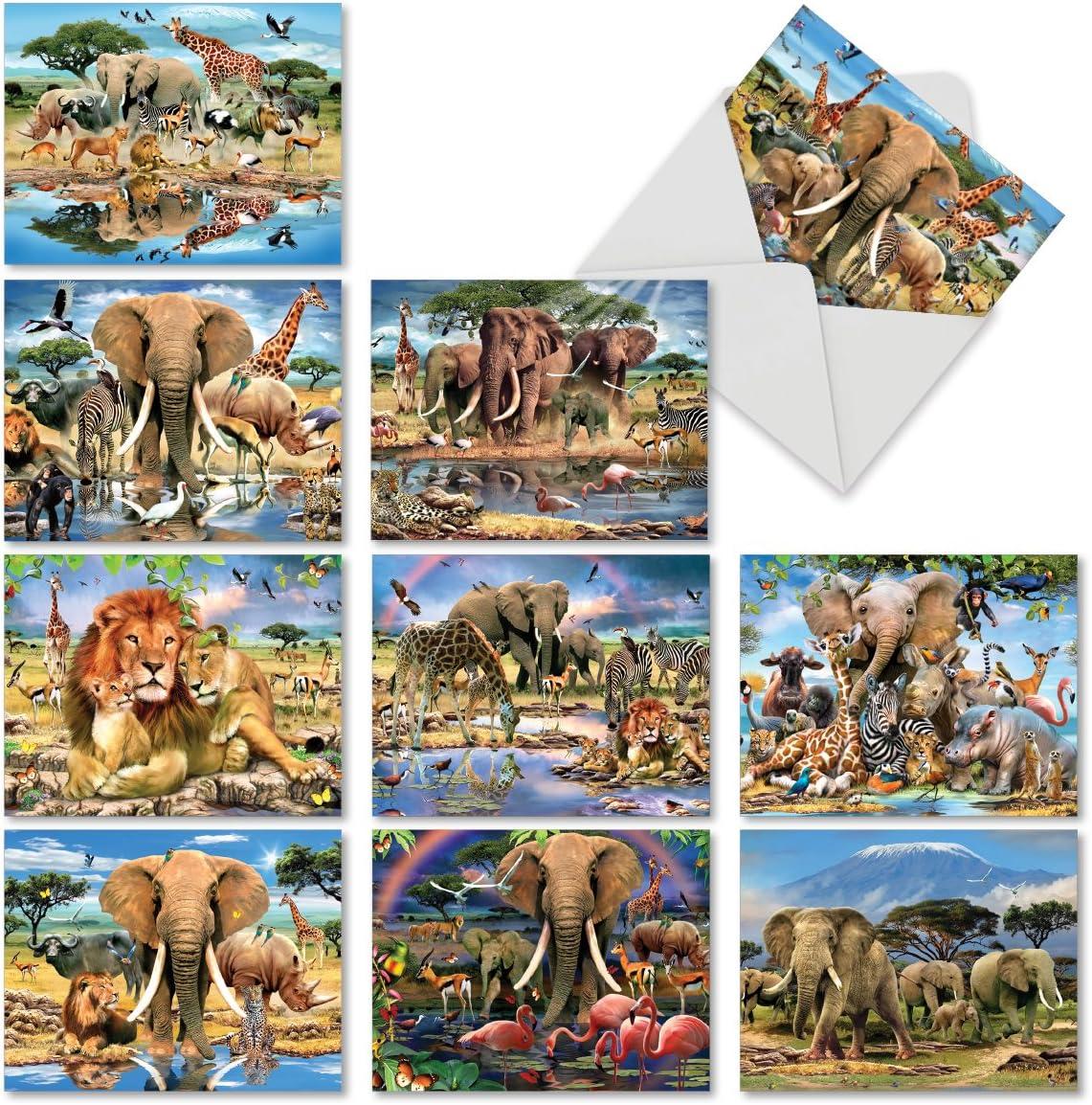 Safari Elephant Wildlife Blank Note Card With Envelope