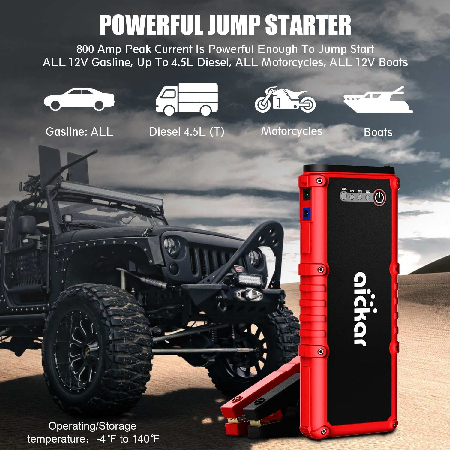 Aickar 800A Peak 19800mAh Car Jump Starter (All Gas & 4.5L Diesel Engine) Portable Car Battery Jump Starter, Power Bank, Built-in LED Flashlight with Car Jumper Cables Heavy Duty by aickar (Image #2)