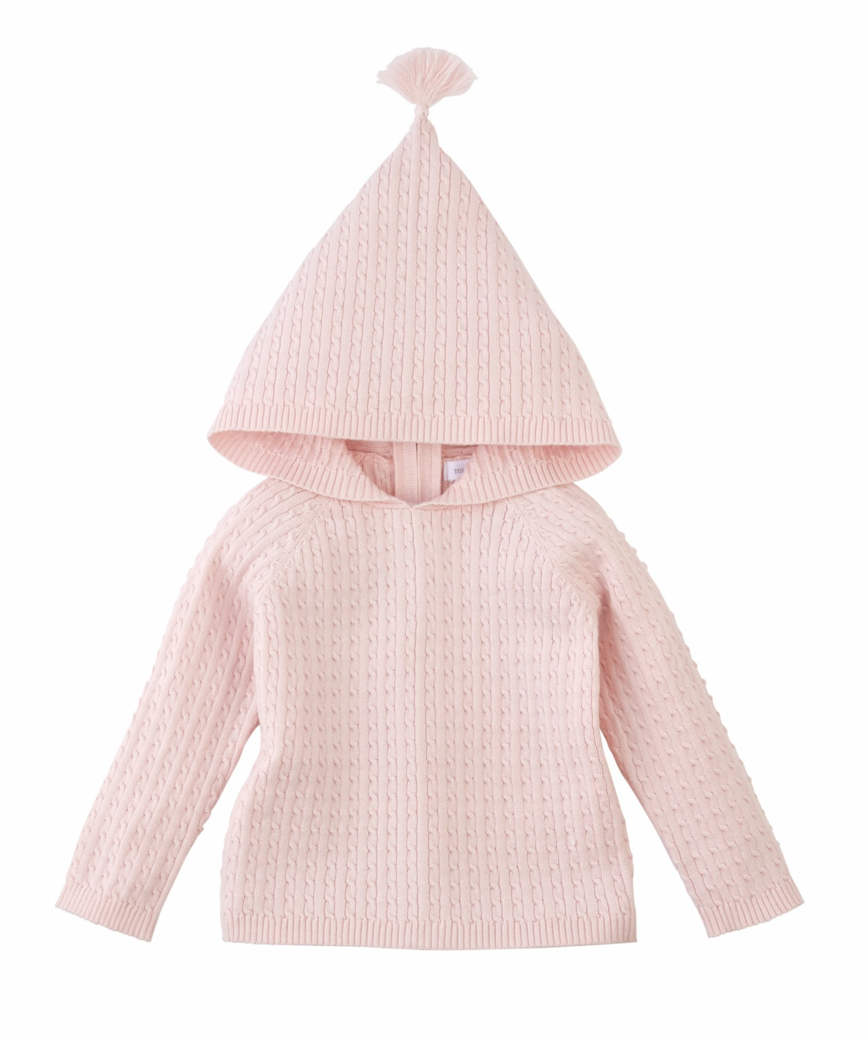 Mud Pie Infant Girls Pink Cable Knit Zip Hoodie (0-6 Months) by Mud Pie