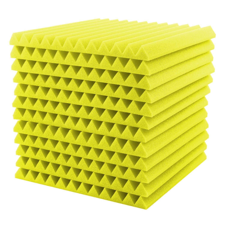 Mallalah Espuma Acústico Insonorizado Cojín Monitor de estudio Absorción Aislamiento Acústica Paneles Tratamiento Conjunto (amarillo): Amazon.es: ...