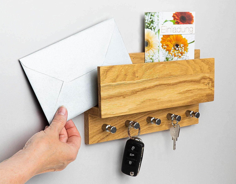 Heimatsp/äne Schl/üsselbrett Holz Eiche Hochwertige Edelstahlhaken und echtes Eichenholz handgemachtes Schl/üsselbrett aus Holz mit Brief-Ablage