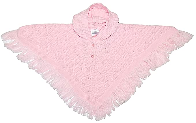 3d48cde0d9ea Nursery Time Baby Girl Knitted Hooded Poncho Cape Shawl Pink White ...