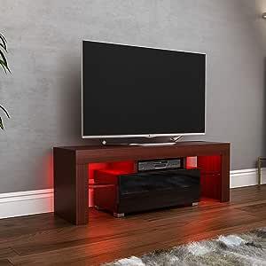 Vida Designs Luna-Mueble de TV LED con 1 cajón (MDF, Mate, Acabado Brillante), Nogal y Negro, 1 Drawer: Amazon.es: Hogar