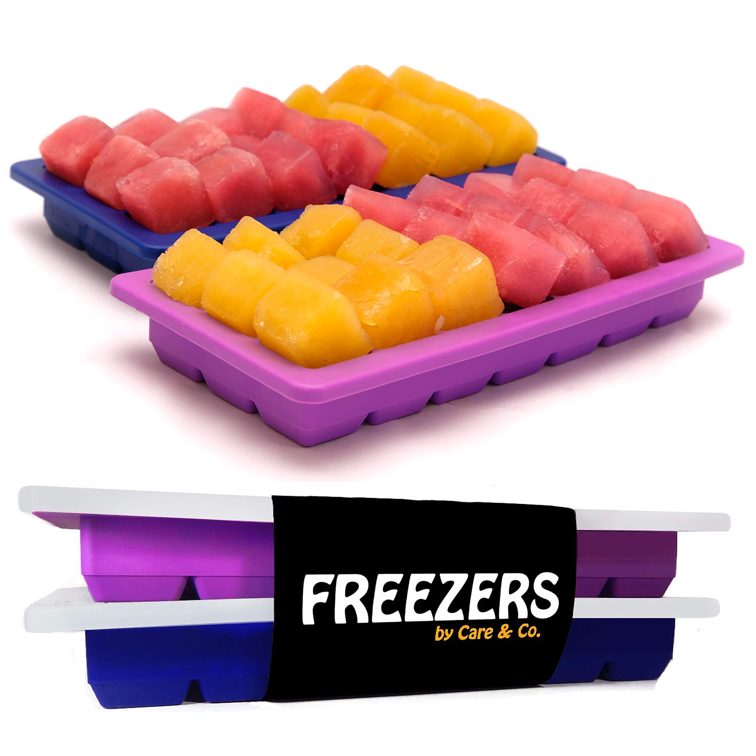 Easy Release Silicone Ice Cube Trays with Lid, Set of 2, 21 Cubes Each, FREEZERS, Minimal Dilution!