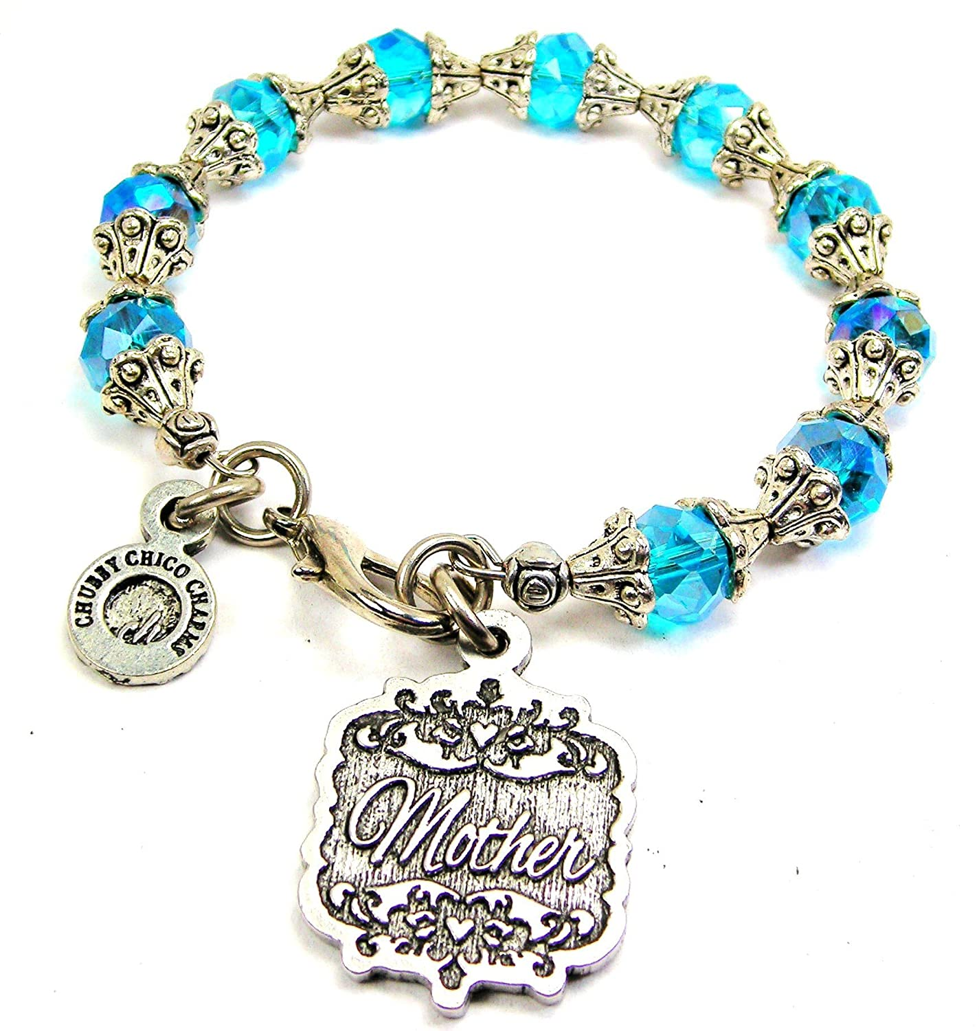 Chubby Chico Charms Mother Victorian Scroll Capped Crystal Bracelet in Aqua Blue