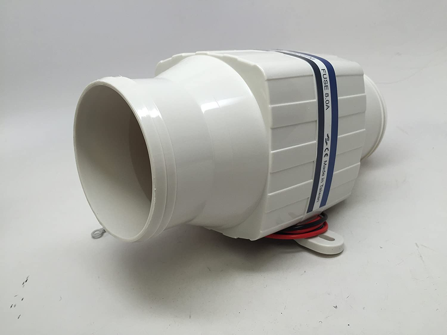 Marine HIGH Performance White in LINE Bilge Blower 12V 122CFM 4.5AMP 8A Fuse PACTRADE MARINE