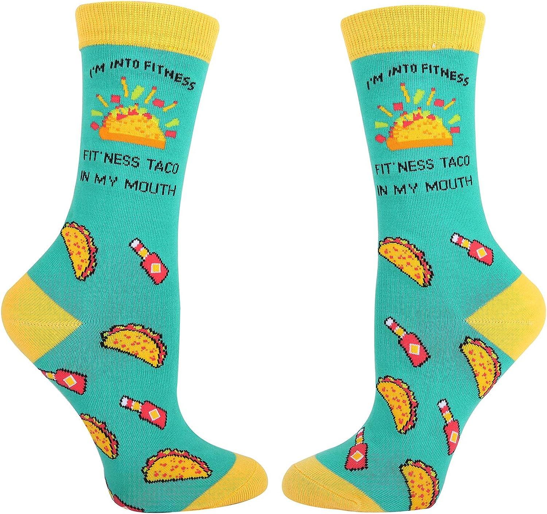 Women Girls Novelty Funny Crazy Food Fruit Avocado Taco Pizza Pineapple Crew Socks