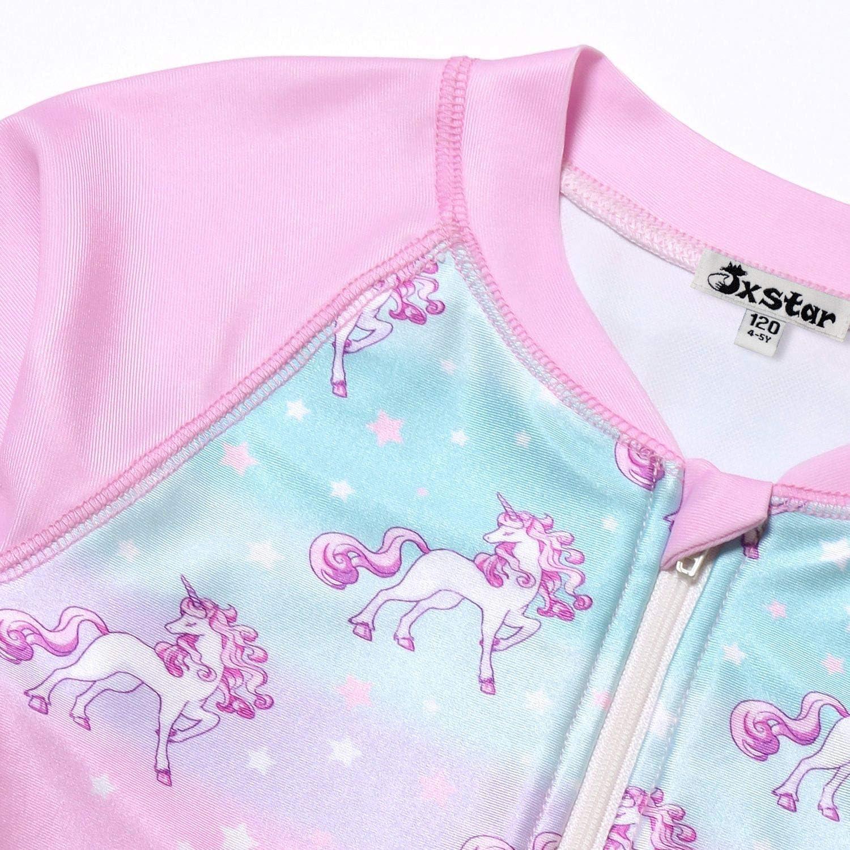 Jxstar Girls Rash Guard Swimwear Kids Unicorn//Mermaid Swimsuits UPF 50 UV