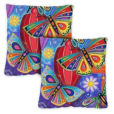 Toland Home Garden 721211 Bright Wings 18 x 18 Inch Indoor/Outdoor, Pillow with Insert (2-Pack) : Garden & Outdoor