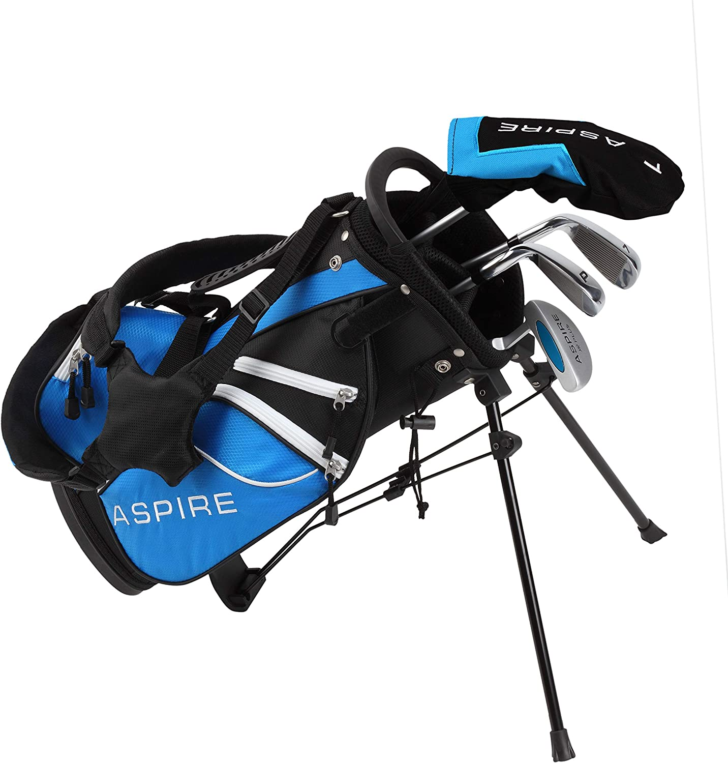 Amazon Com Aspire Junior Plus Complete Golf Club Set For Children Kids 5 Age Groups Boys Girls Right Hand Blue Ages 3 4 Sports Outdoors
