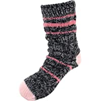 BambooMN Extra Thick Cozy Fuzzy Thermal Cabin Plush Fleece-lined Knitted Crew Socks