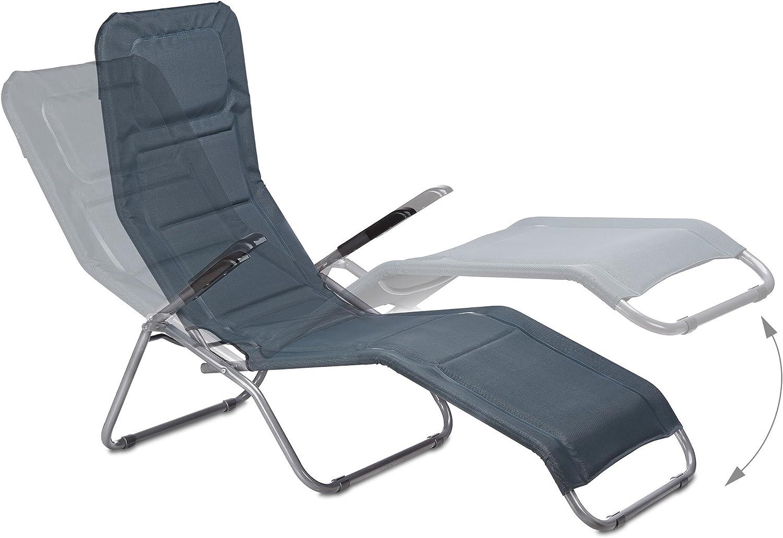 Chaise rembourrée longue Relaxdays extérieur pliable transat rxBedCo