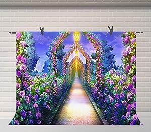 Fairy Tale Garden Purple Flowers Background 9x6ft Baby Shower Party Photography Backdrop Banner Decor Photo Studio Props BJZYFU66