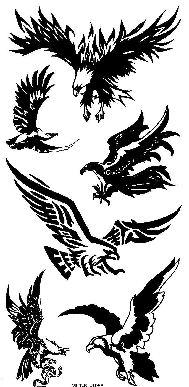 Águila calcomanías Negro Fake Tattoo 6 Águila en un arco mtl1058 ...