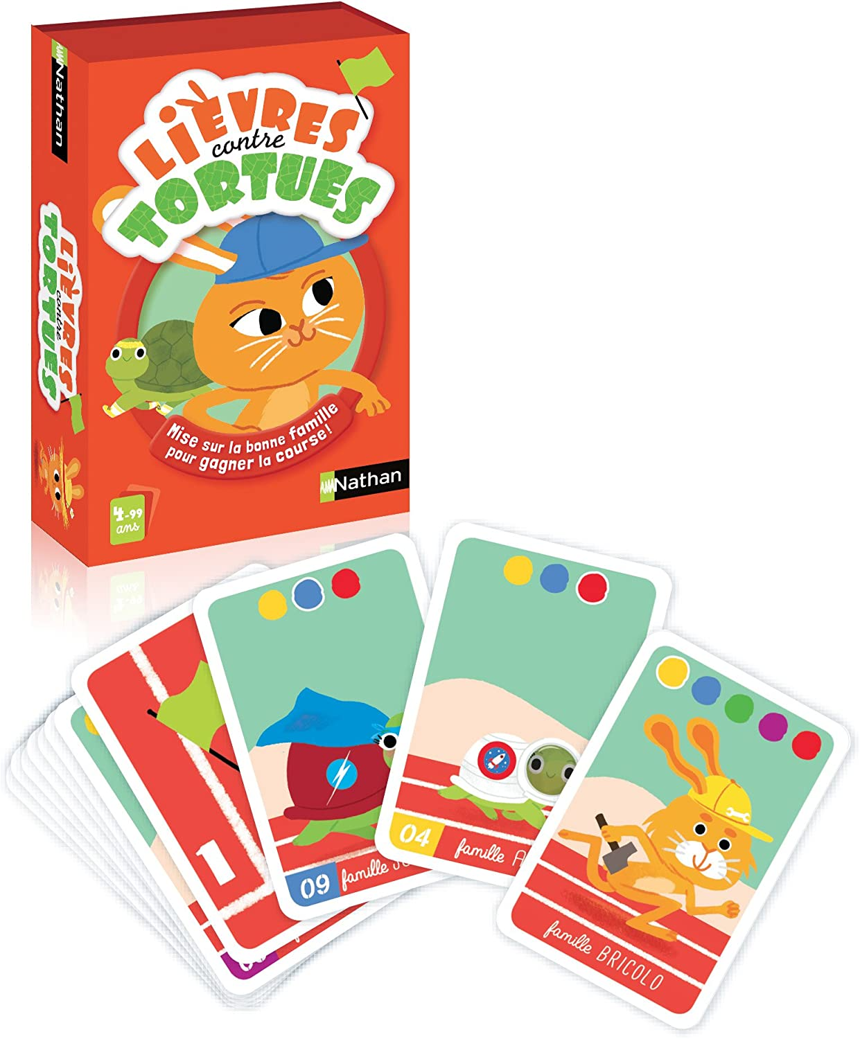 Nathan–31427–'Lièvres Contre Tortues' Card Game [English Language Not Guaranteed]
