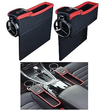 NEEGO Bolsillo Lateral de la Consola con Monedero y Portavasos Organizador de Asiento de Carro Caddy Slit Gap Rellenador Cuero de PU 2 Lados (Lzquierda y ...