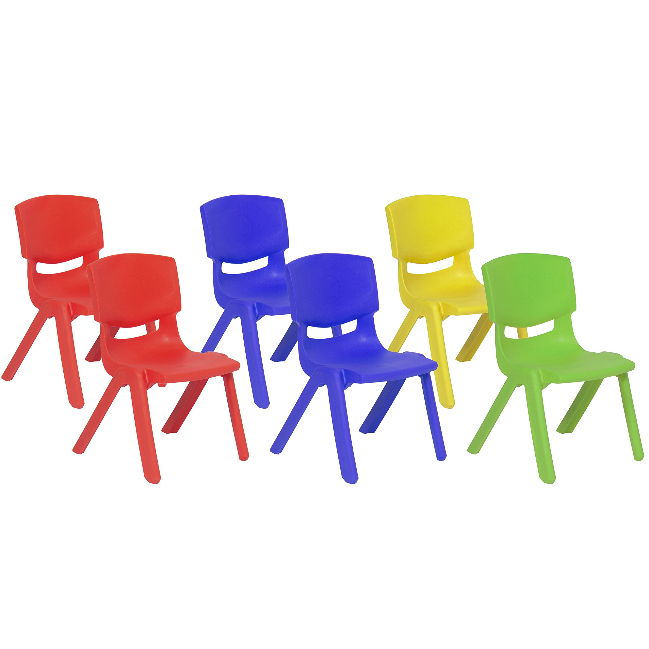 Best Choice Products Multicolor Set of 6 Kids Plastic Stacking School Chairs Set, 10'' Height Colorful Stackable Seat
