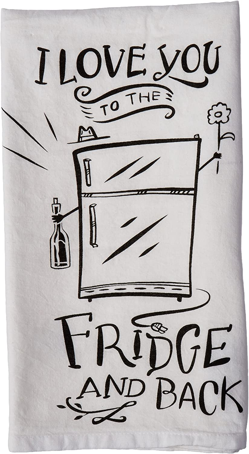 Primitives by Kathy LOL Made You Smile Dish Towel, 28 by 28-Inch, to The Fridge and Back