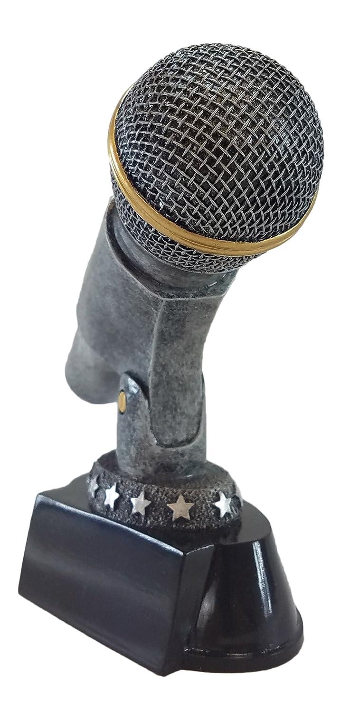 Plata Micrófono trofeo - Karaoke cantante premio - DJ micrófono de colores - locutor - EMCEE: Amazon.es: Deportes y aire libre