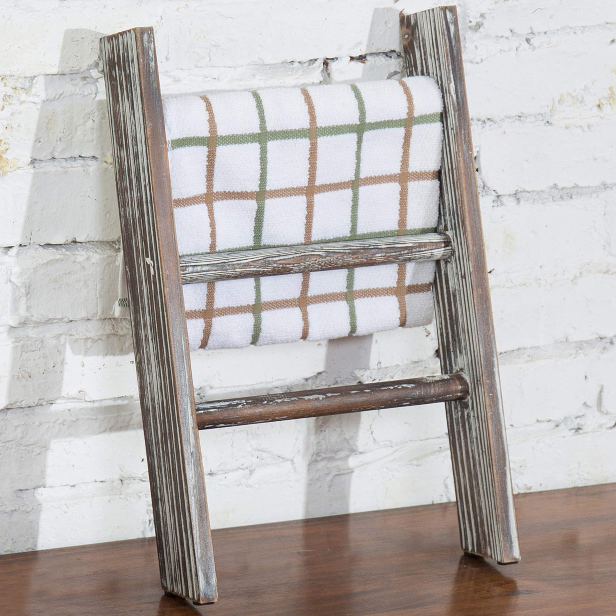 MyGift Rustic Torched Wood Countertop 16-Inch Ladder Kitchen Towel Rack by MyGift