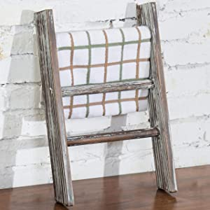 MyGift Rustic Torched Wood Countertop 16-Inch Ladder Kitchen Towel Rack