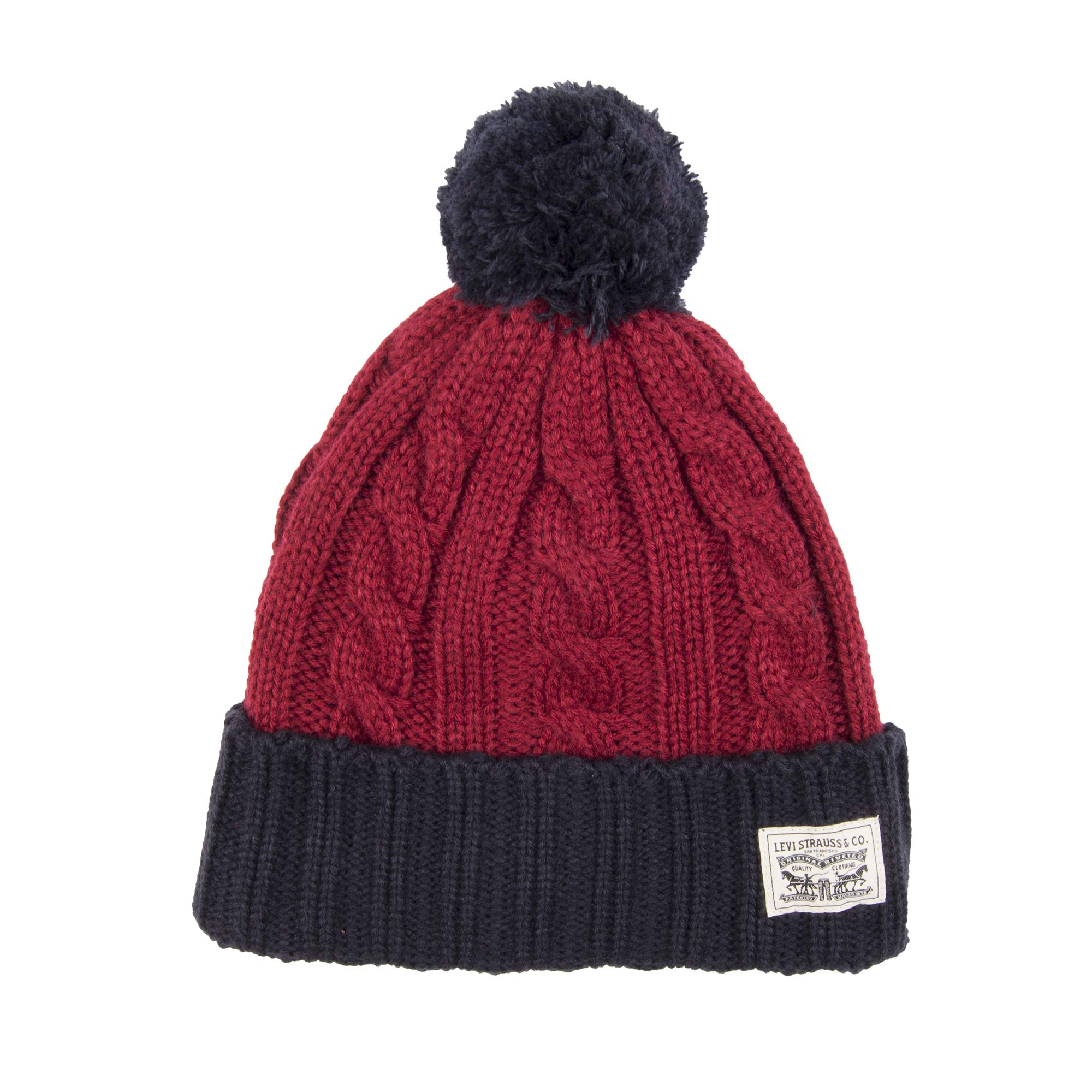 76509770dc29 Galleon - Levi's Men's Pompom Cable Beanie Hat, Red/Navy One Size