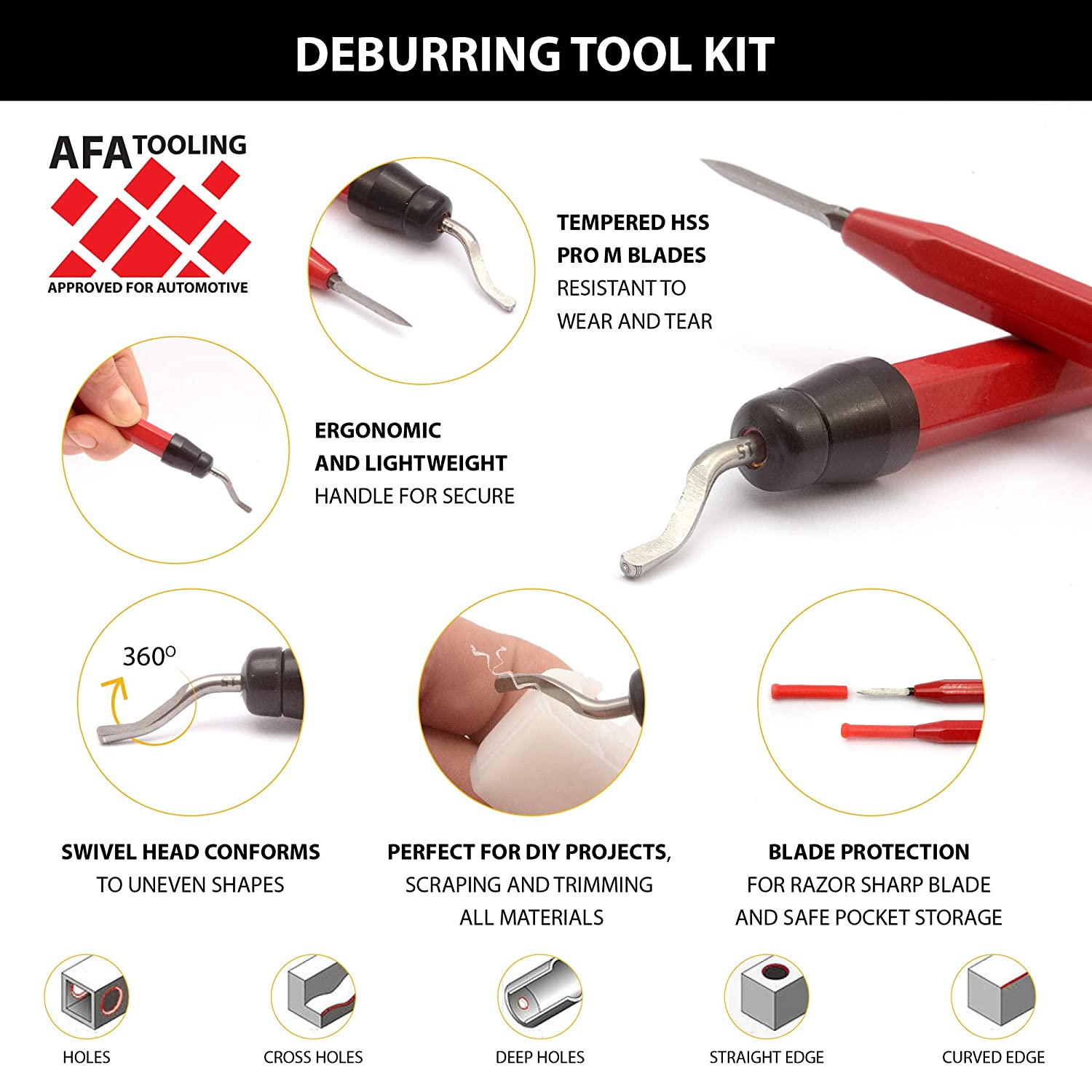 AFA Tooling Deburring Tool with a Blade and Triangular Scraper